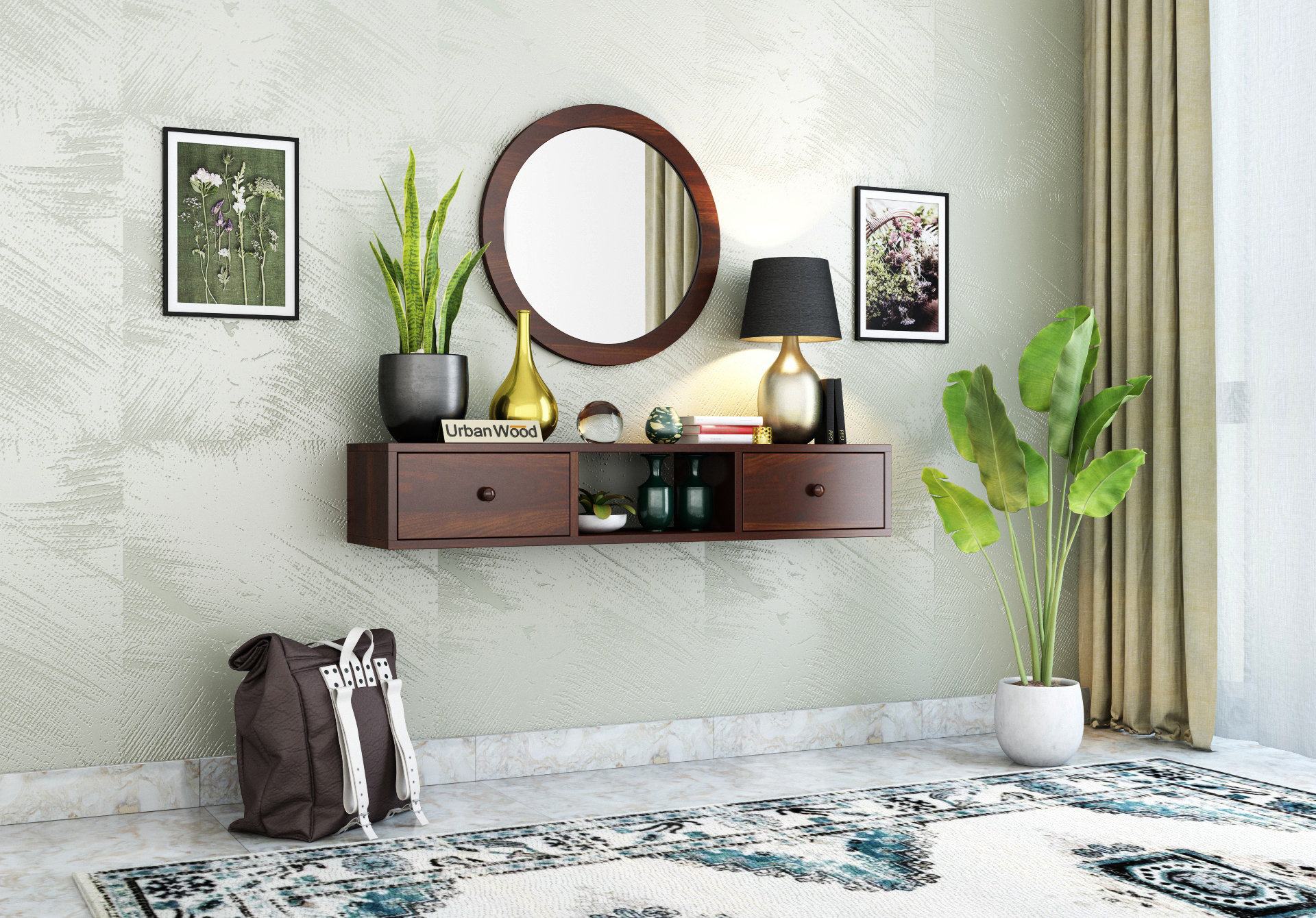 Rose Wall Mounted Console Table with Mirror <small>( Walnut Finish )</small>