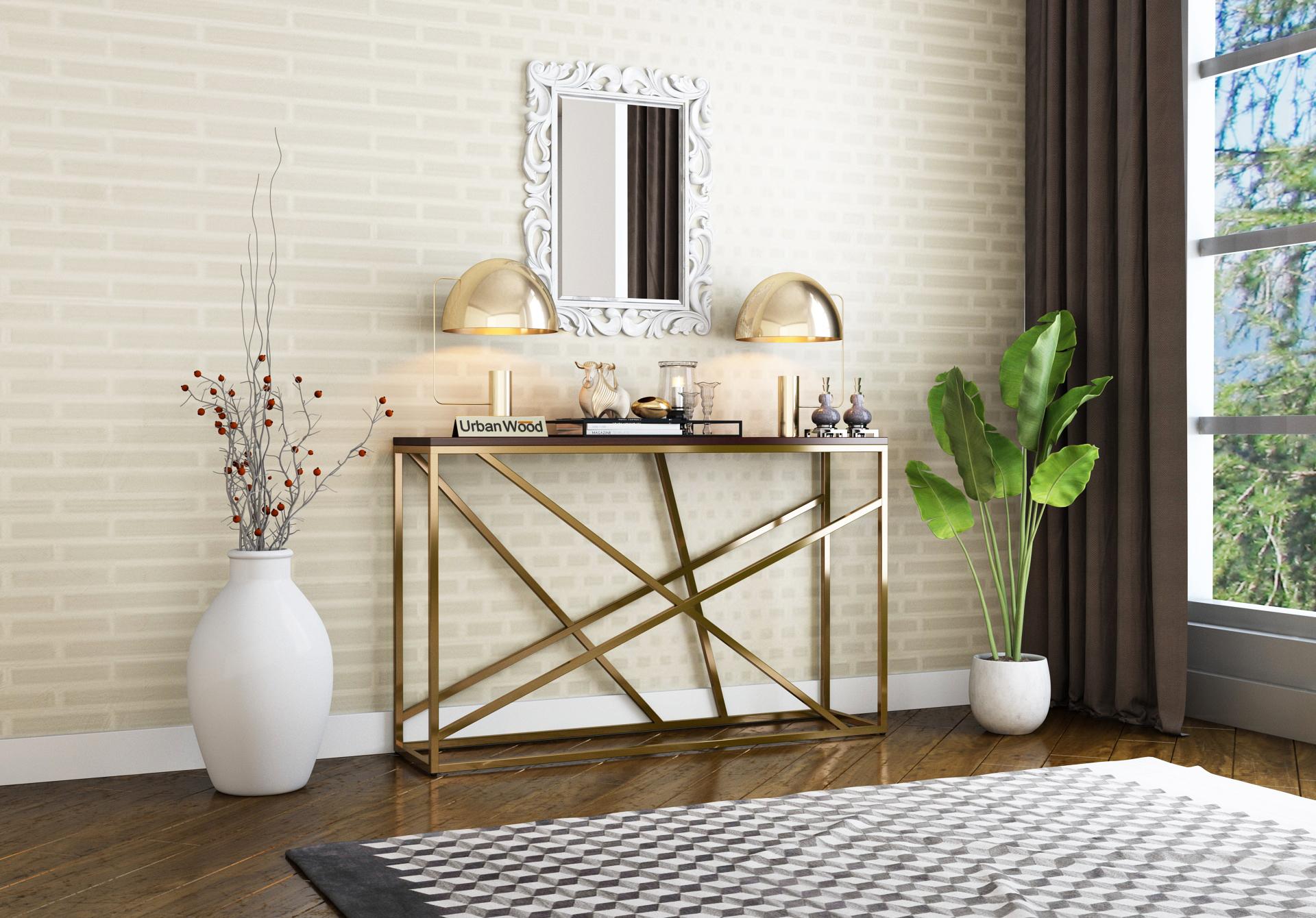 Rustic Console Table <small>( Walnut Finish )</small>