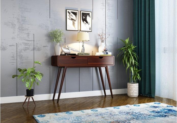 Yarn Console Table with Storage ( Walnut Finish )