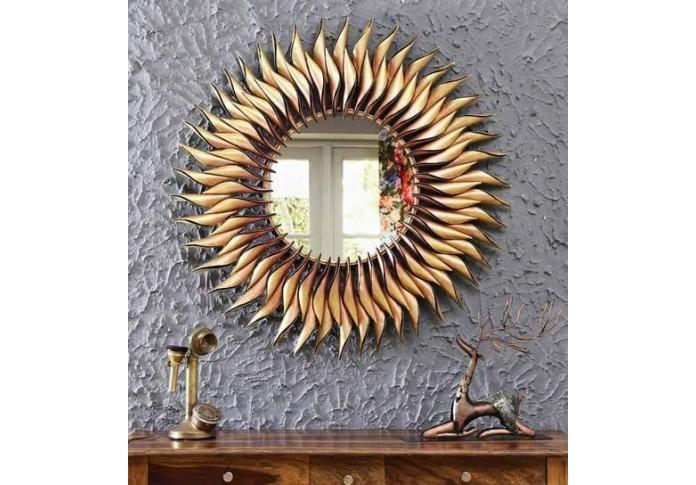 Metal sun mirror wall decor