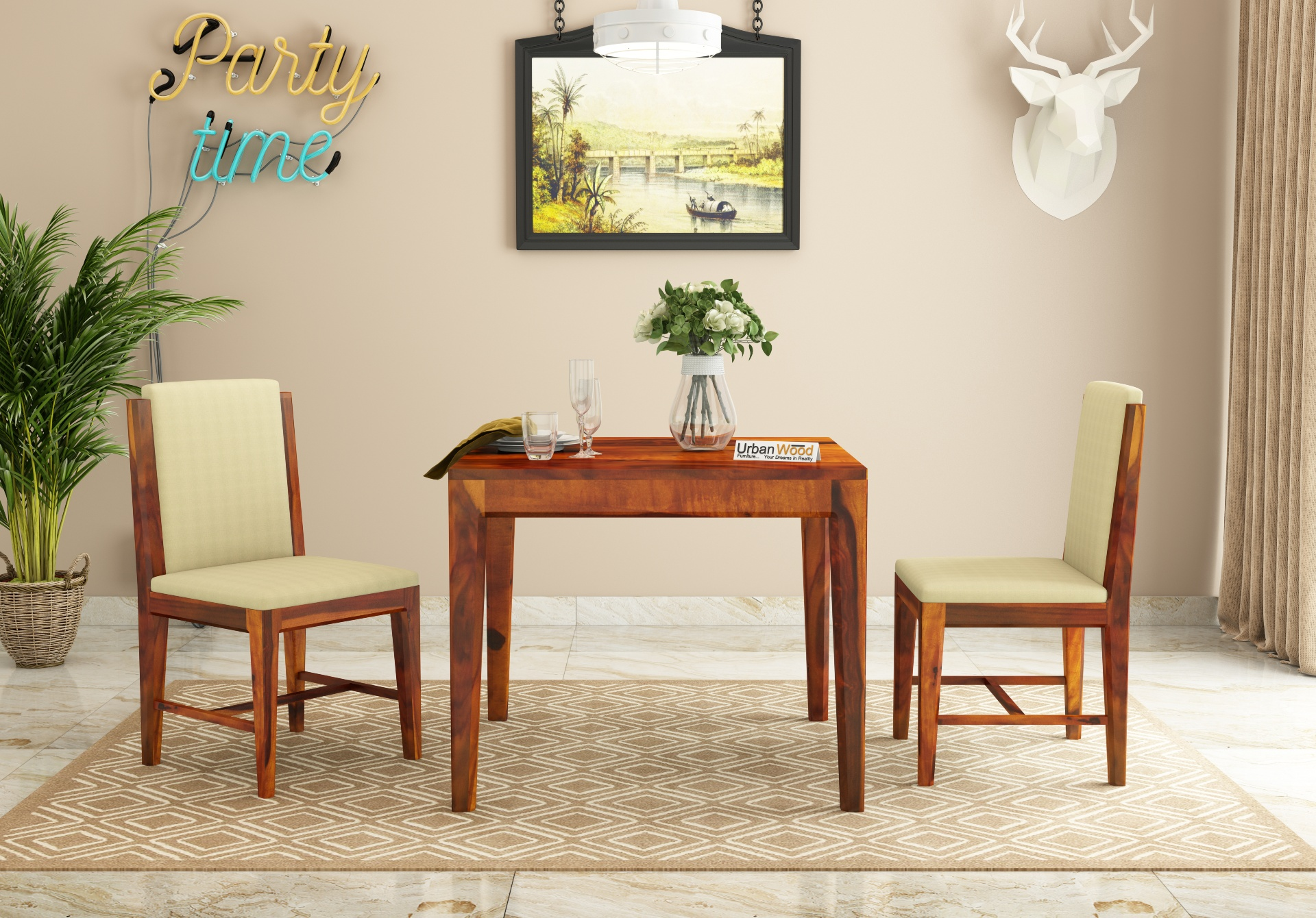 Deck 2-Seater Dining Table Set <small>( Honey Finish )</small>