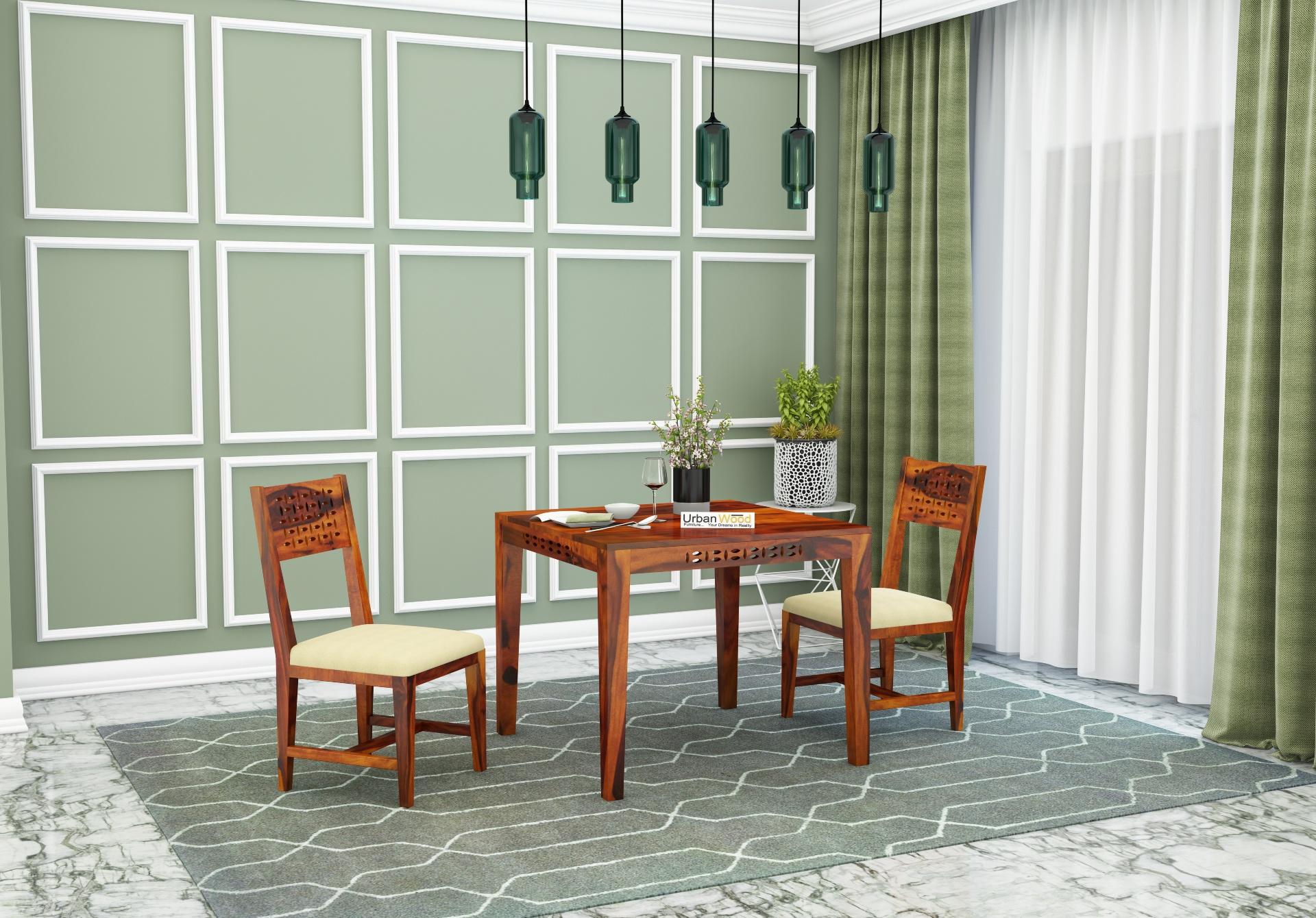 Woodora 2 Seater Dining Set With Cushion <small>(Honey Finish)</small>