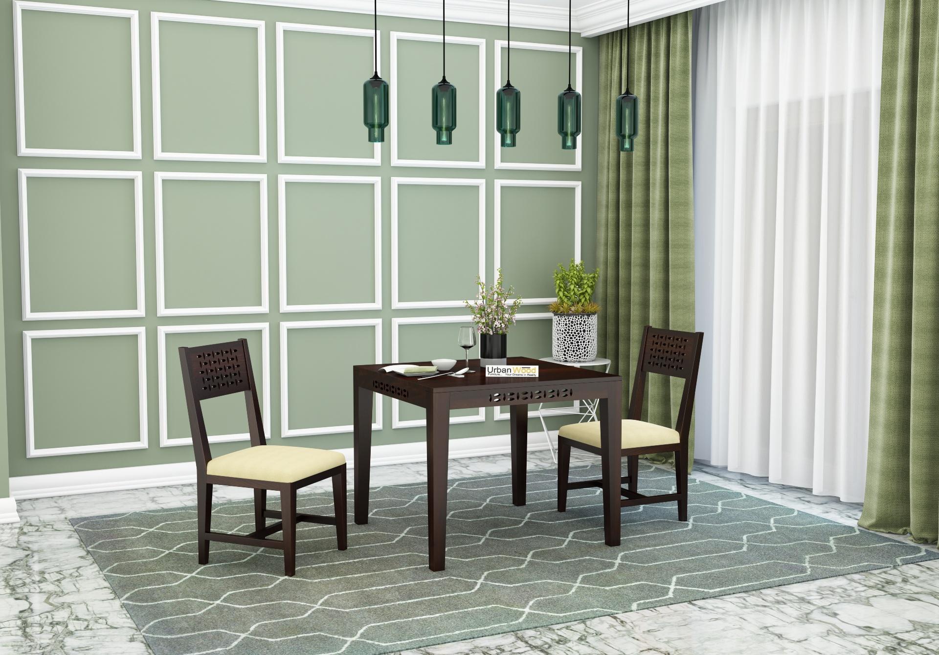 Woodora 2 Seater Dining Set with Cushion <small>(Walnut Finish)</small>