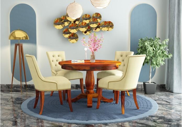 Knit 4-Seater Round Dining Table Set ( Honey Finish )