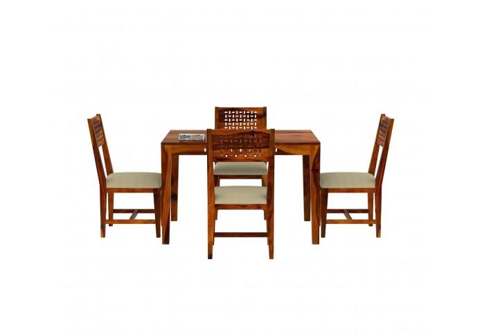 Woodora 4 Seater Dining Set with Cushion (Honey Finish)