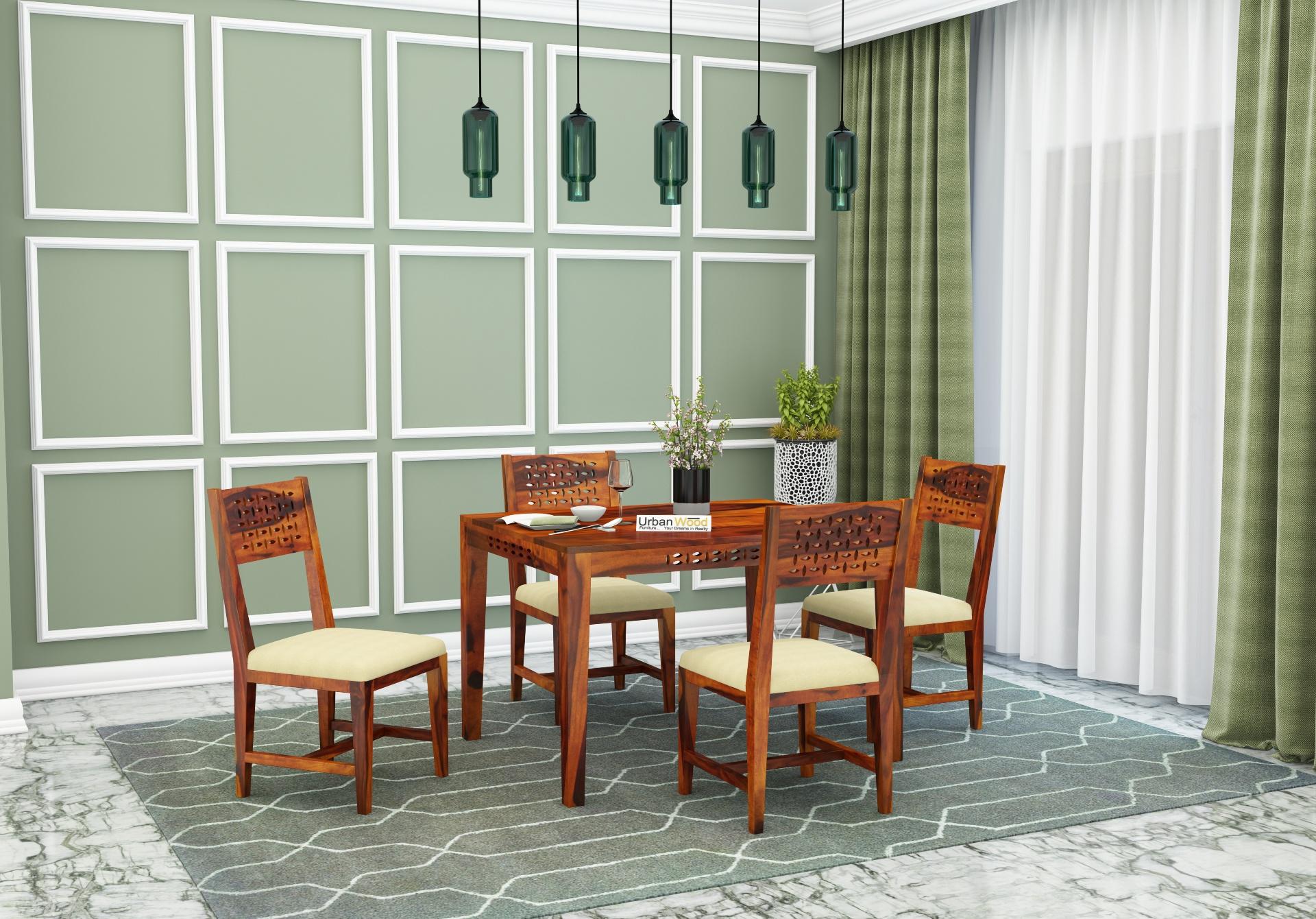 Woodora 4 Seater Dining Set with Cushion <small>(Honey Finish)</small>