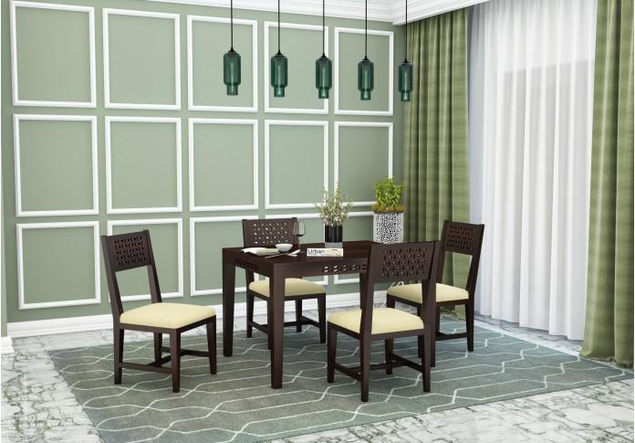 Woodora 4 Seater Dining Set with Cushion (Walnut Finish)
