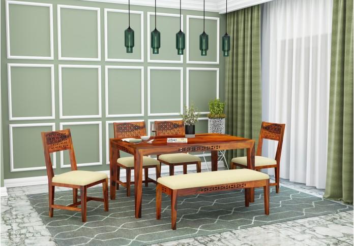 Woodora 6 Seater Dining Set Cushion With Bench (Honey Finish)