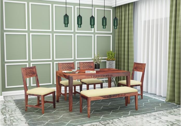 Woodora 6 Seater Dining Set Cushion With Bench (Teak Finish)