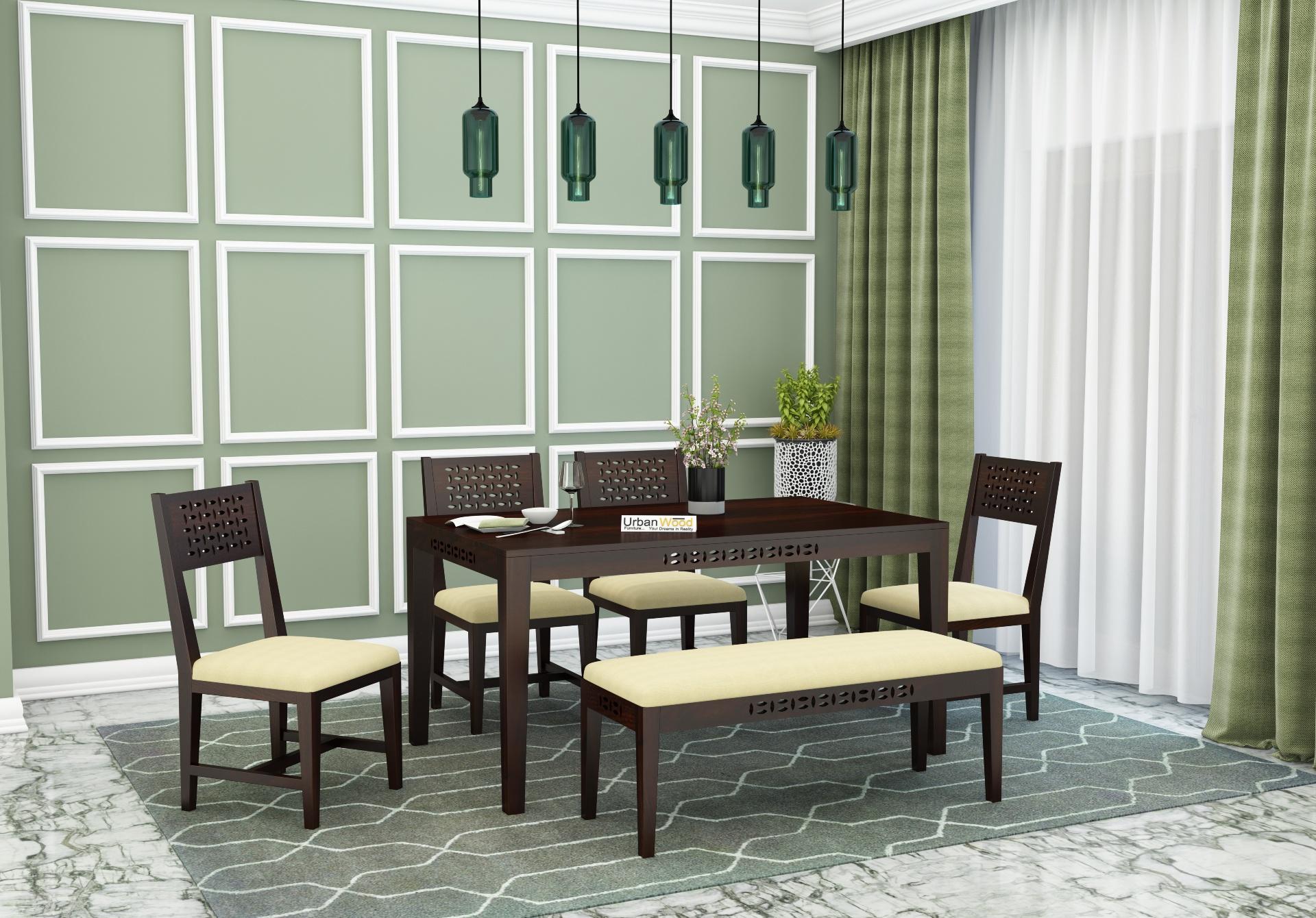 Woodora 6 Seater Dining Set Cushion With Bench <small>(Walnut Finish)</small>