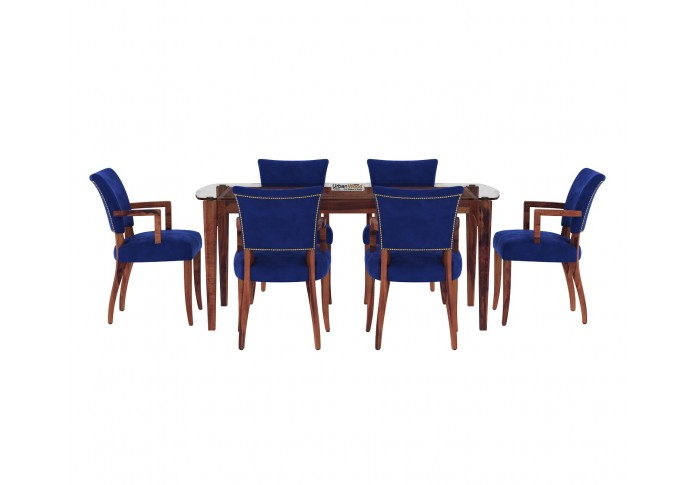 Quipo 6-Seater Dining Table Set <small>( With Arms ) ( Teak Finish )</small>