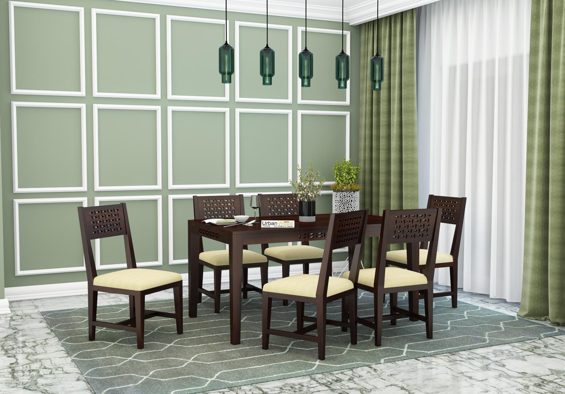 Woodora 6 Seater Dining Set with Cushion <small>(Walnut Finish)</small>