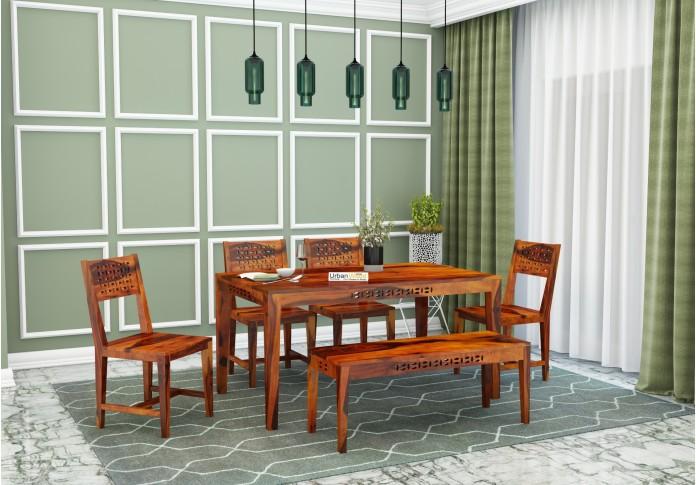 Woodora 6-Seater Dining Set With Bench ( Honey Finish )
