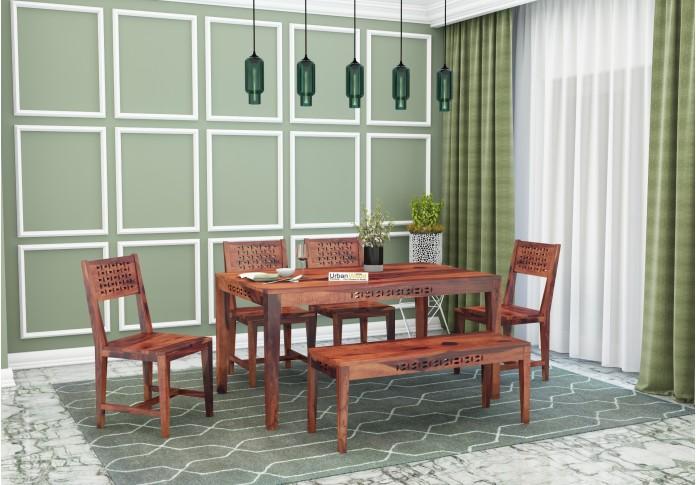 Woodora 6-Seater Dining Set With Bench ( Teak Finish )