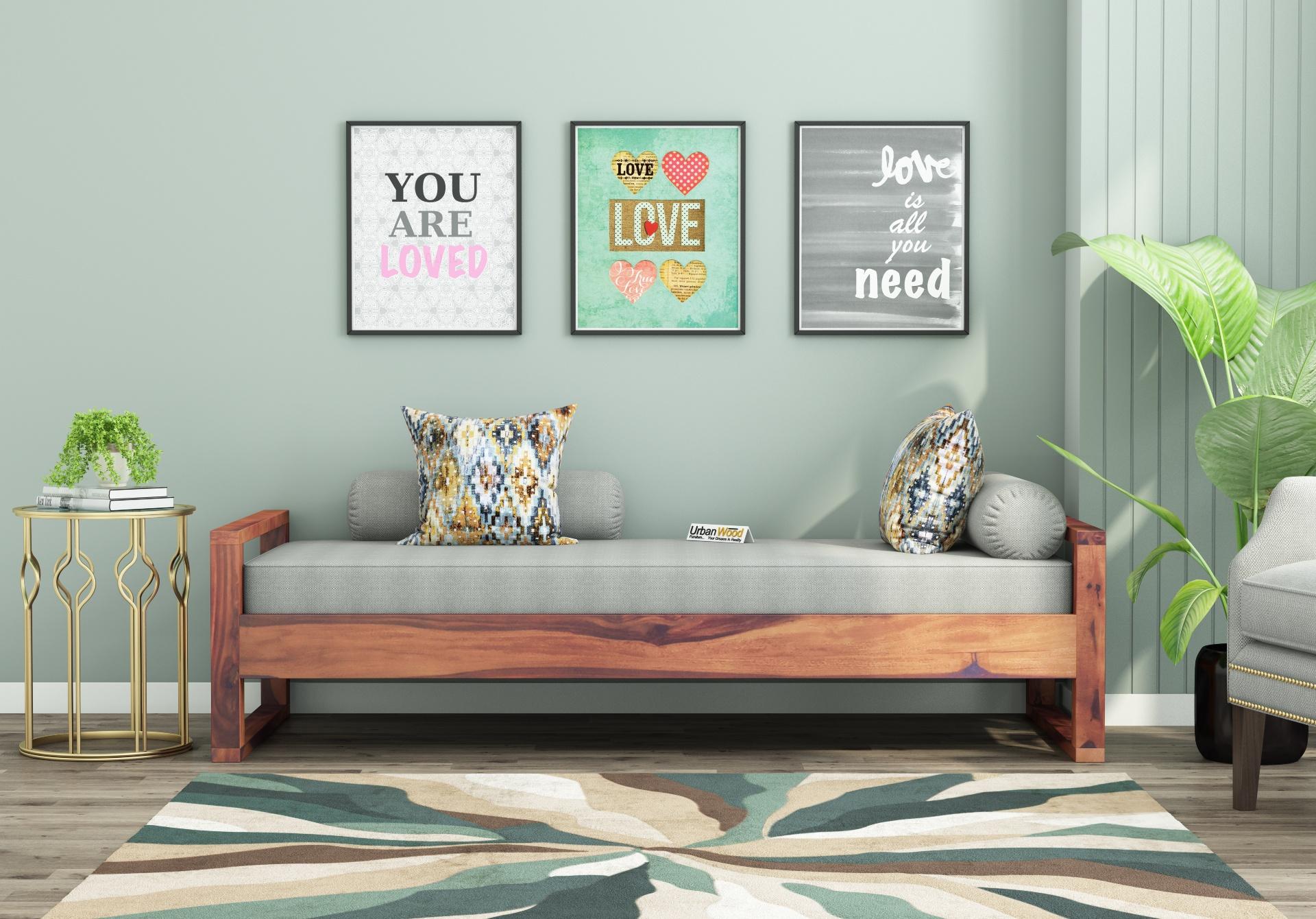 Ara Wooden Diwan Bed <small>(Teak Finish)</small>
