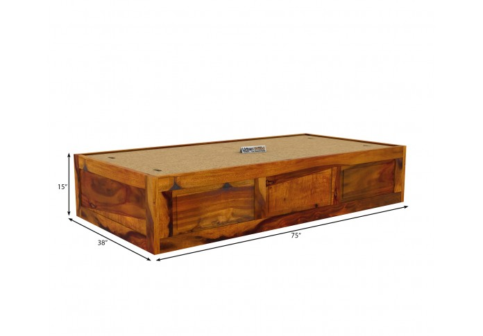 Solas Diwan Bed With Storage (Honey Finish)
