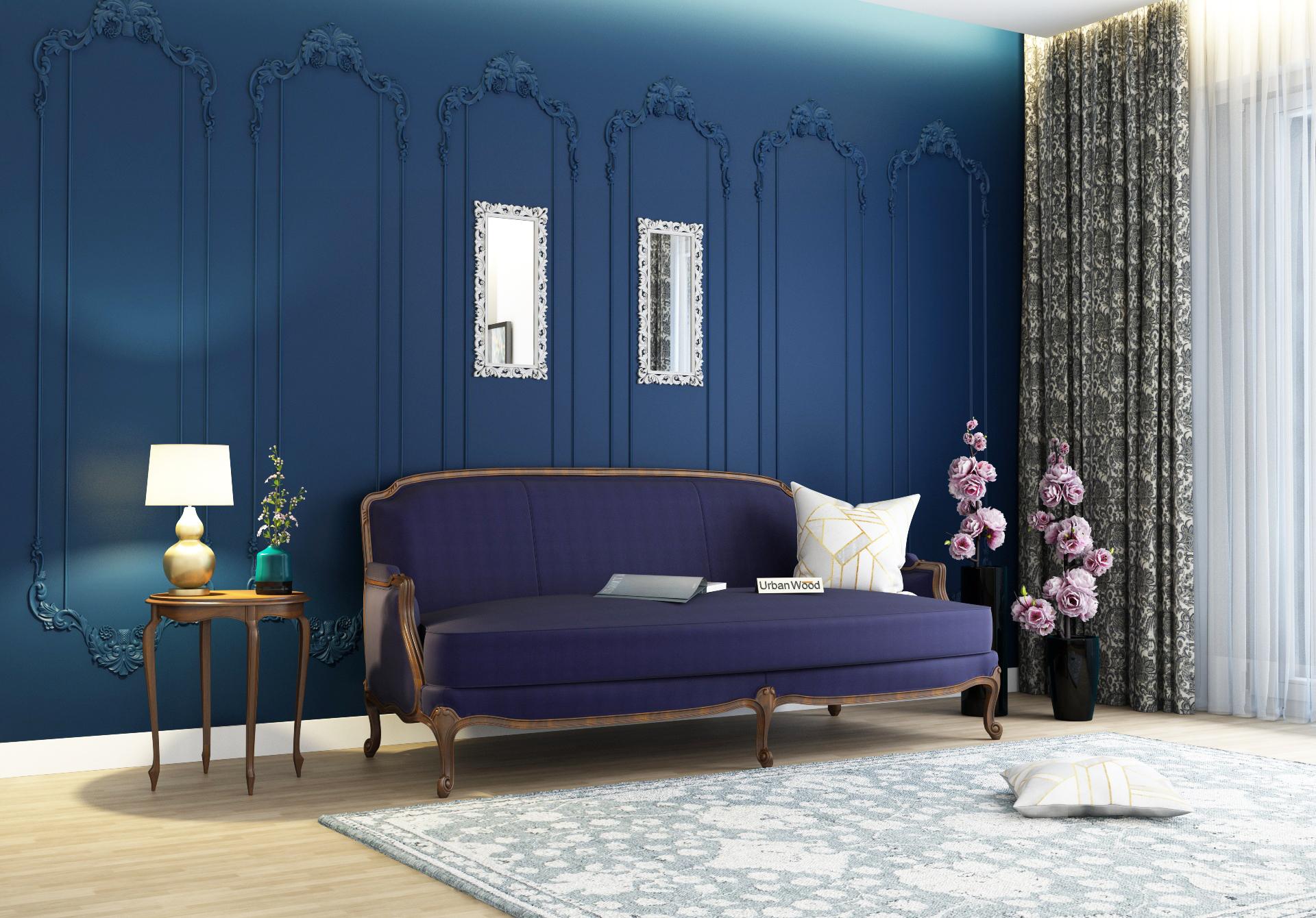 Abro 3 Seater Sofa <small>(Cotton, Navy blue)</small>