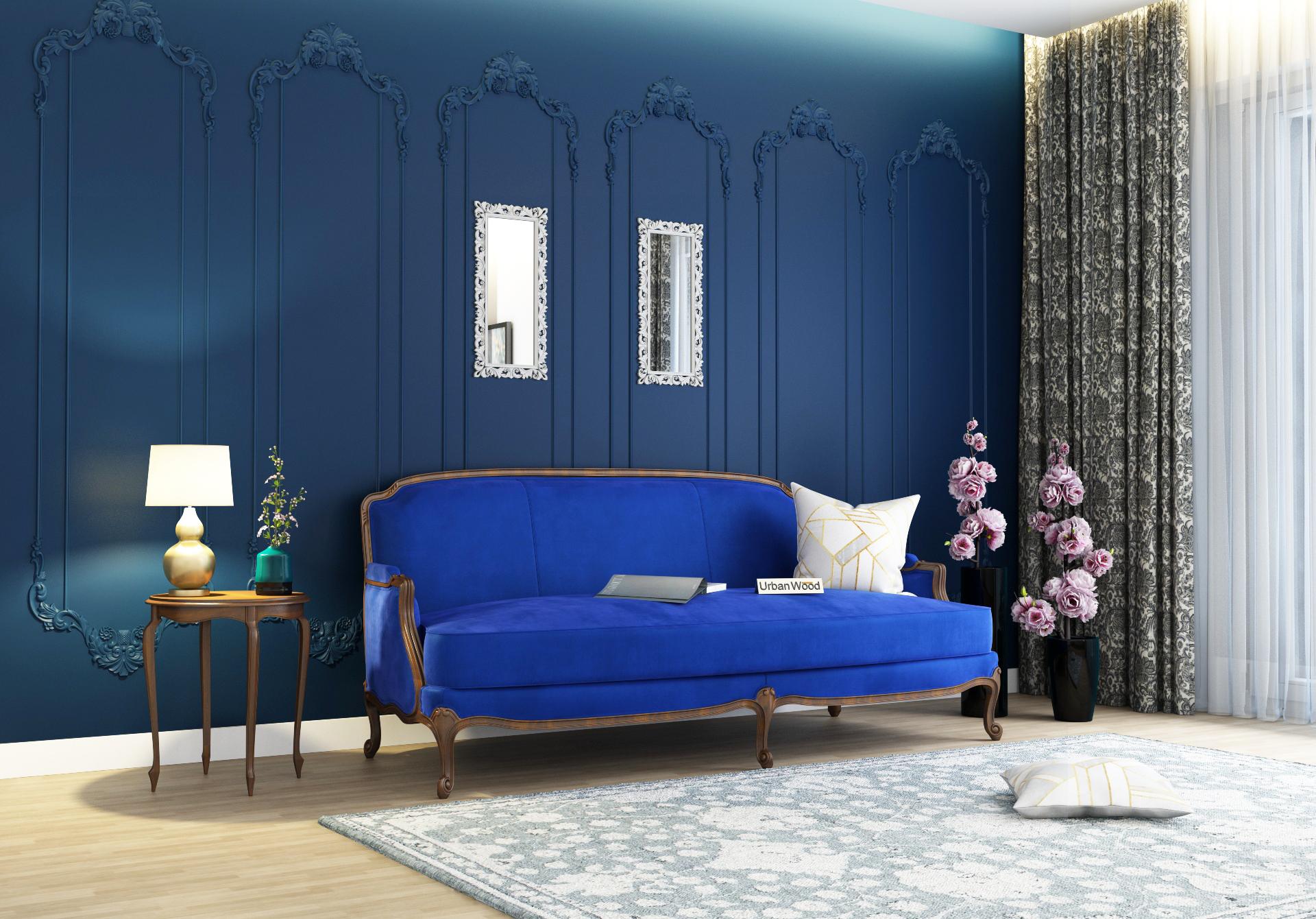 Abro 3 Seater Sofa <small>(Velvet, Sapphire blue)</small>