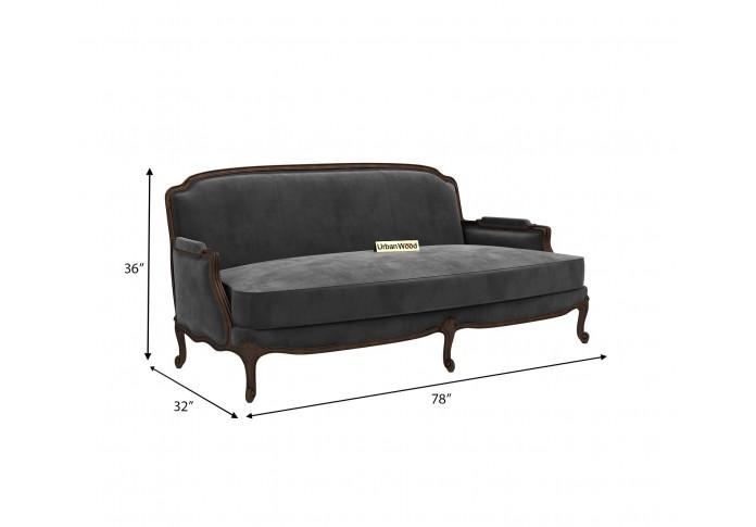 Abro 3 Seater Sofa (Velvet, Stone gray)