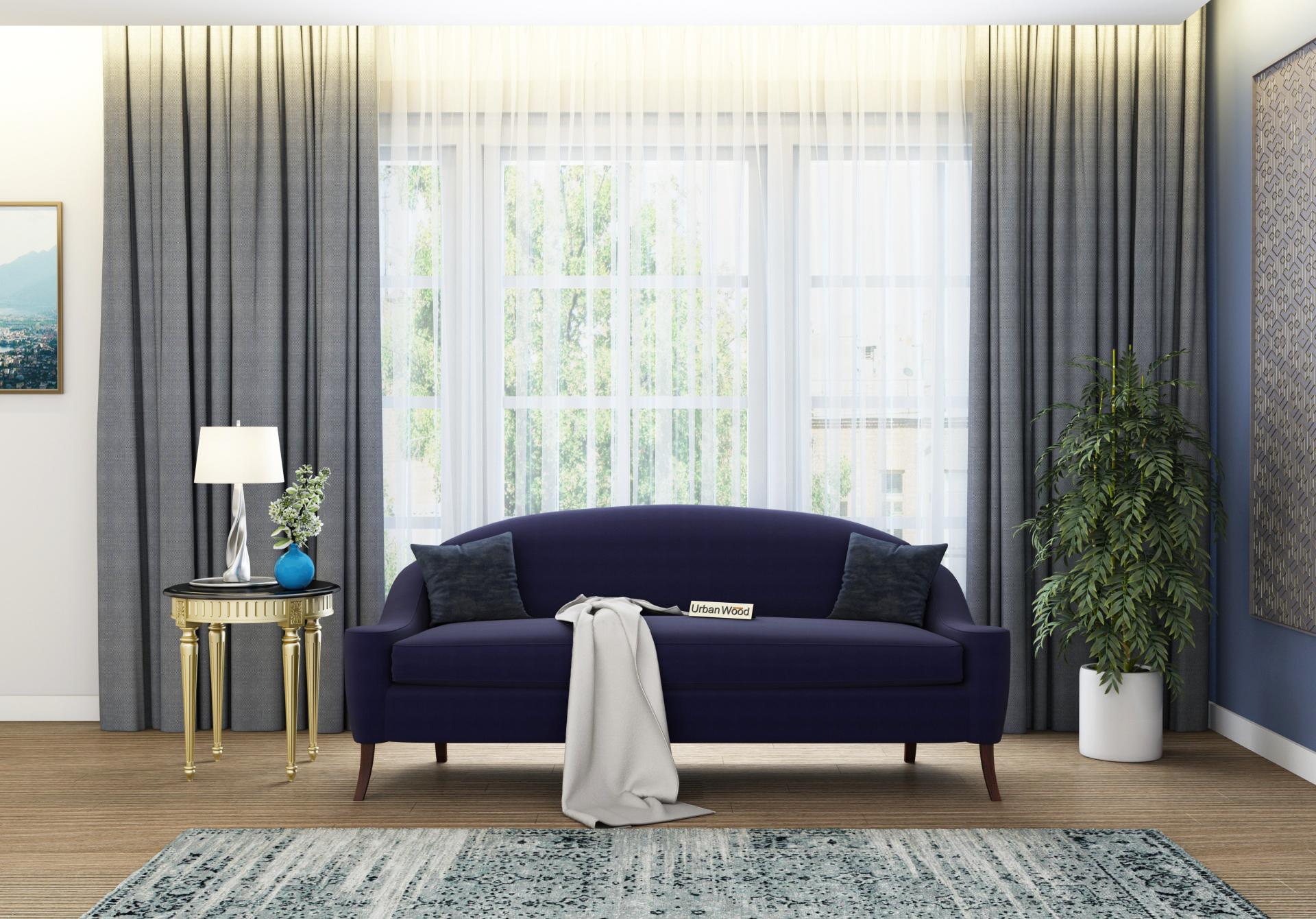 Crimson 3 Seater Sofa <small>(Cotton, Navy blue)</small>