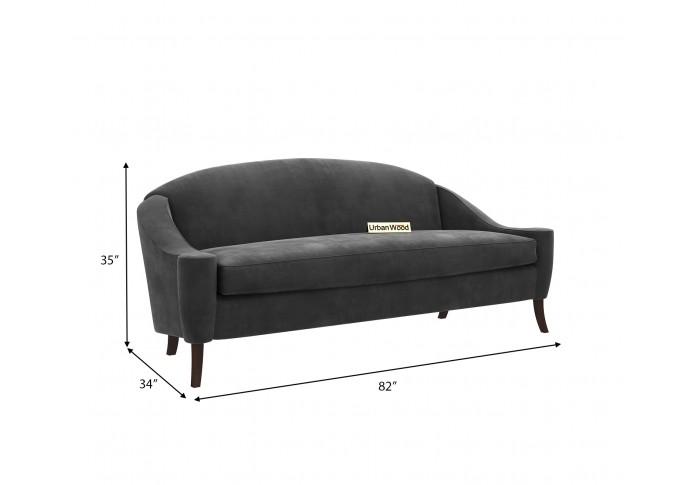 Crimson 3 Seater Sofa (Velvet, Stone gray)
