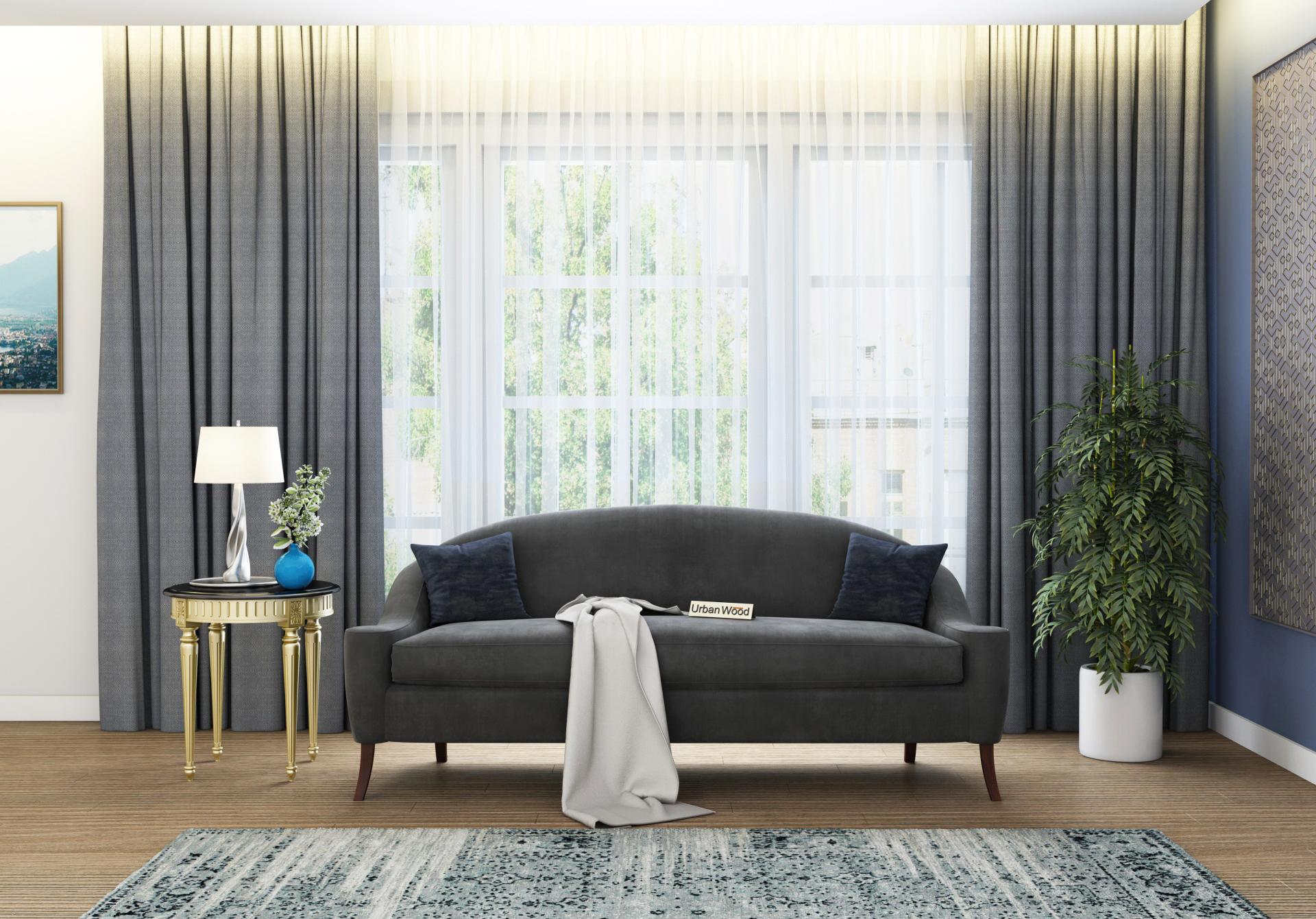 Crimson 3 Seater Sofa <small>(Velvet, Stone gray)</small>