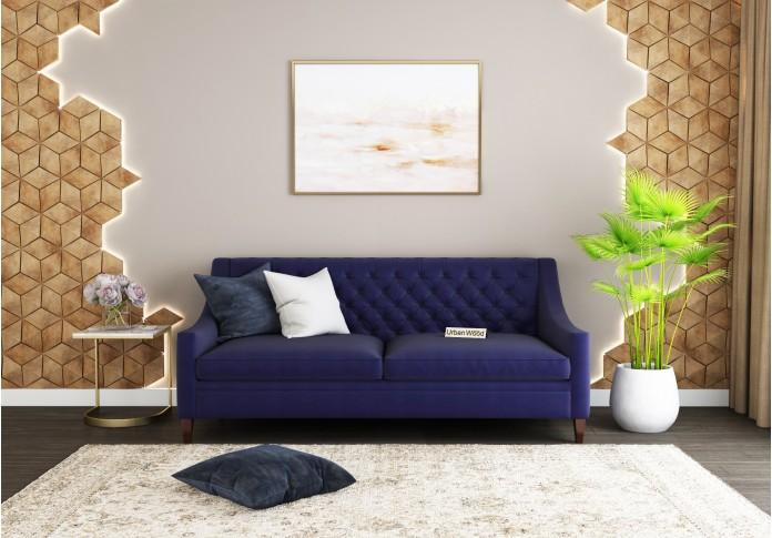 Curio 3 Seater Sofa <small>(Cotton, Navy blue)</small>