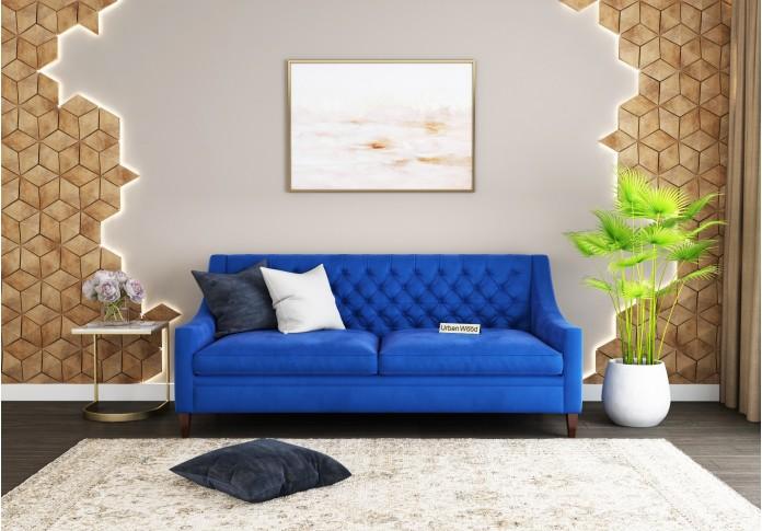 Curio 3 Seater Sofa <small>(Velvet, Sapphire blue)</small>