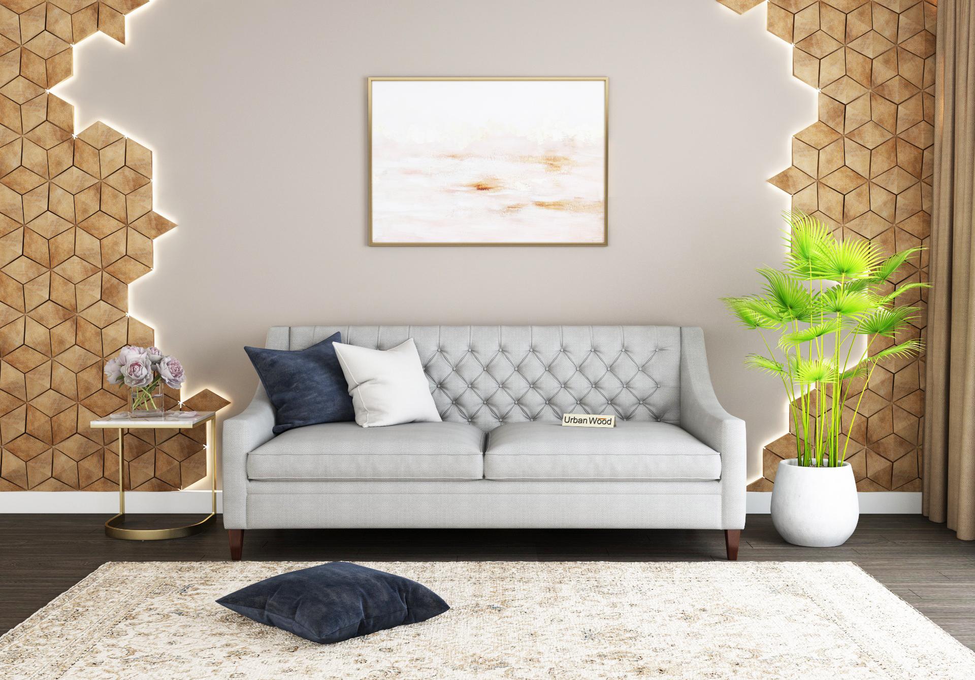Curio 3 Seater Sofa <small>(Cotton, Steel gray)</small>
