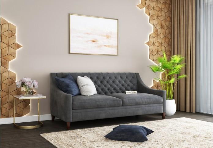 Curio 3 Seater Sofa (Velvet, Stone gray)