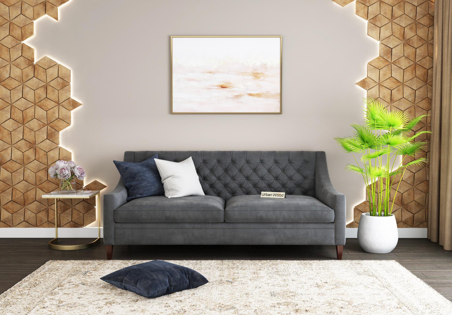 Curio 3 Seater Sofa <small>(Velvet, Stone gray)</small>