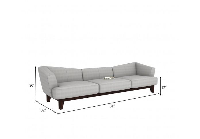Fooze 3 Seater Sofa ( Cotton, Steel Grey )