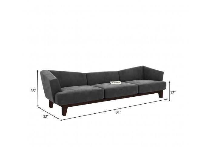 Fooze 3 Seater Sofa <small>( Velvet, Stone Grey )</small>