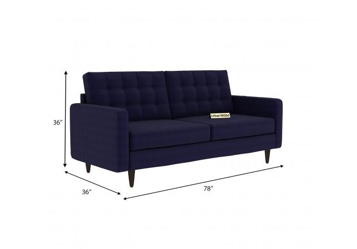 Hamper 3 Seater Sofa (Cotton, Navy blue)
