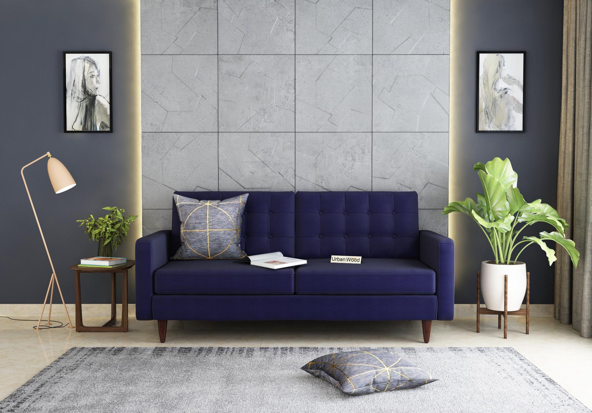 Hamper 3 Seater Sofa <small>(Cotton, Navy blue)</small>