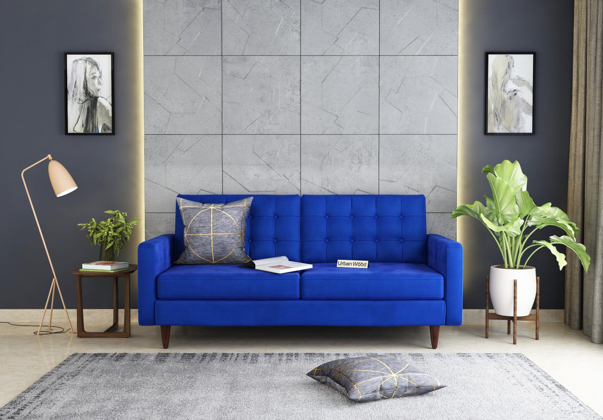Hamper 3 Seater Sofa <small>(Velvet, Sapphire blue)</small>