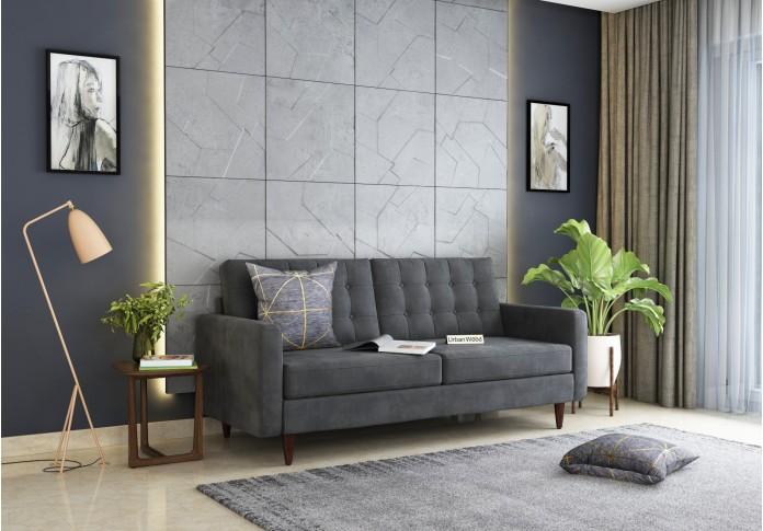Hamper 3 Seater Sofa <small>(Velvet, Stone gray)</small>