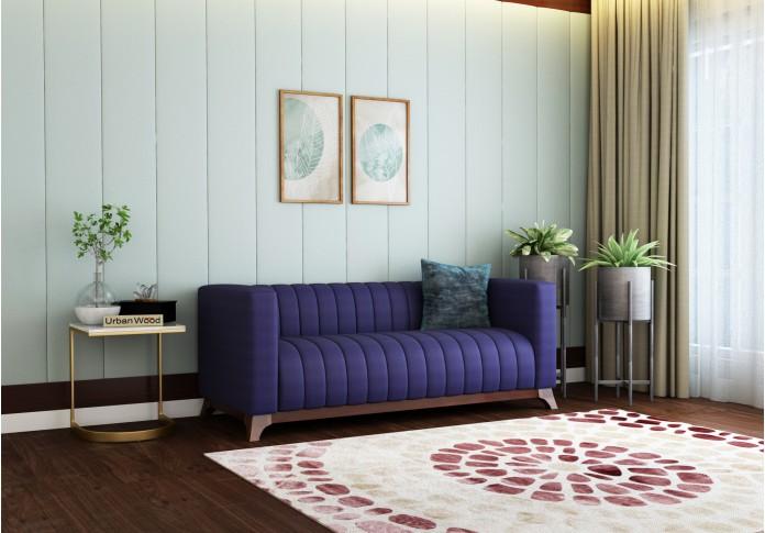 Lotus 3 Seater Sofa ( Cotton, Navy Blue )