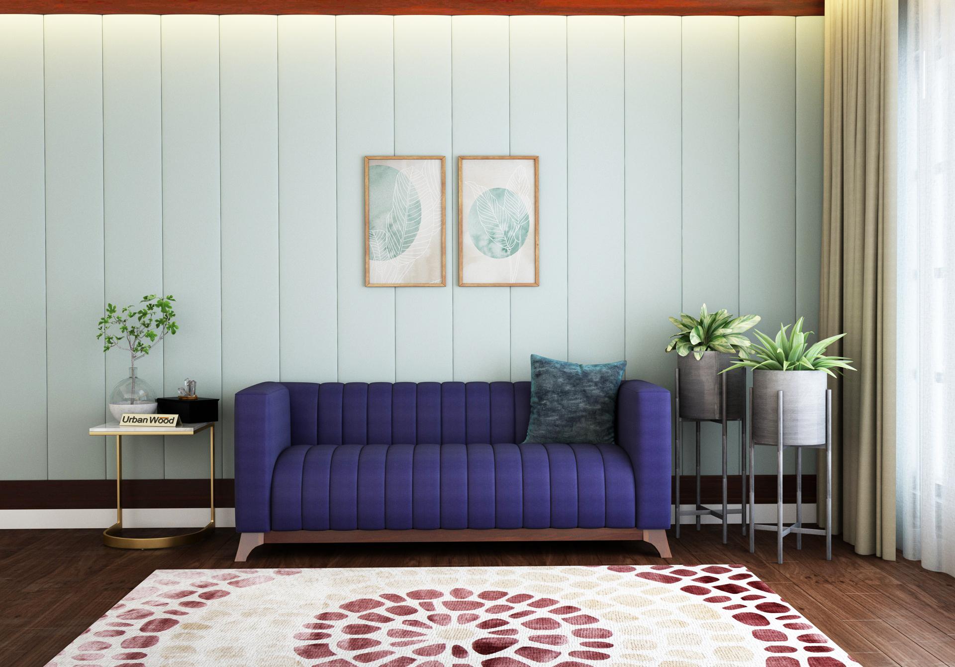 Lotus 3 Seater Sofa <small>( Cotton, Navy Blue )</small>