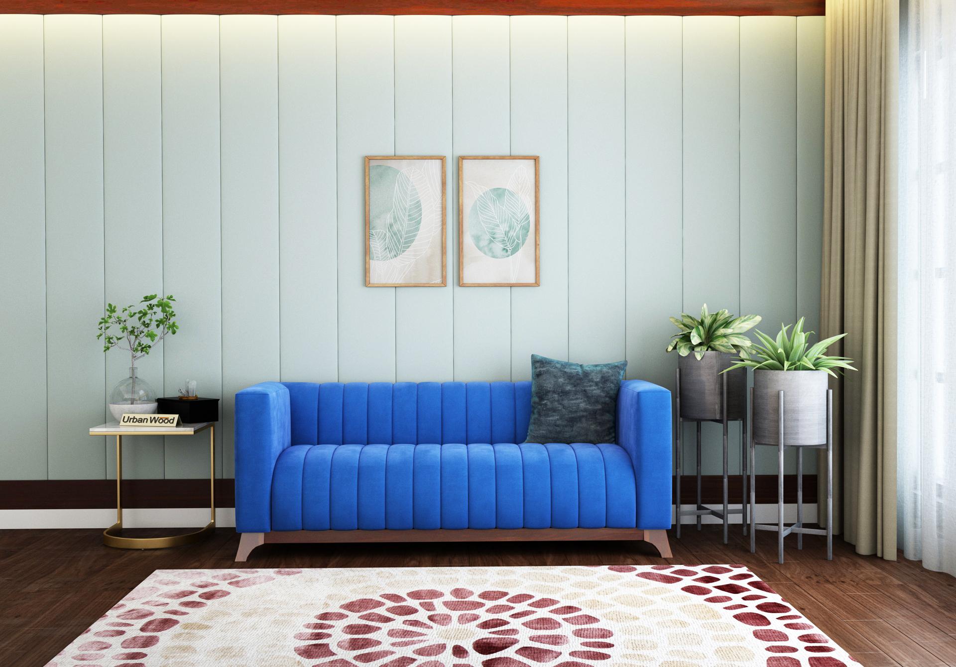 Lotus 3 Seater Sofa <small>( Velvet , Sapphire Blue )</small>