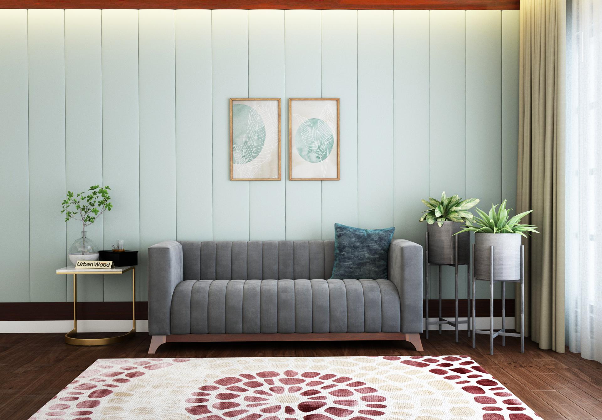 Lotus 3 Seater Sofa <small>( Velvet, Stone Grey )</small>