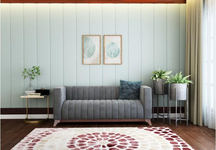 Lotus 3 Seater Sofa ( Velvet, Stone Grey )