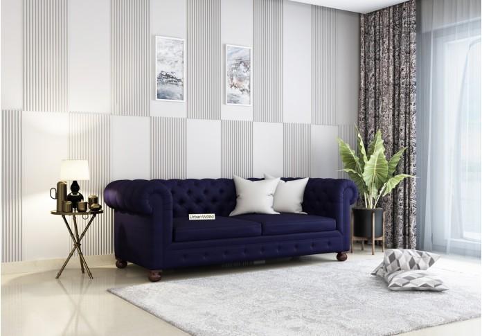 Regal 3 Seater Sofa (Cotton, Navy blue)