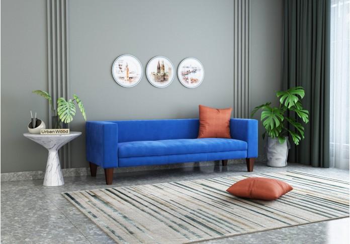 Roy 3 Seater Sofa  ( Velvet, Sapphire Blue )