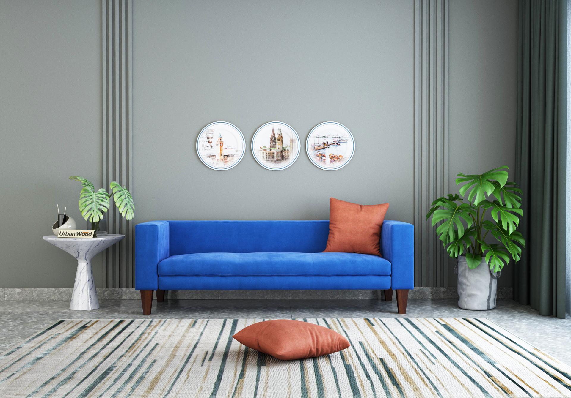 Roy 3 Seater Sofa  <small>( Velvet, Sapphire Blue )</small>