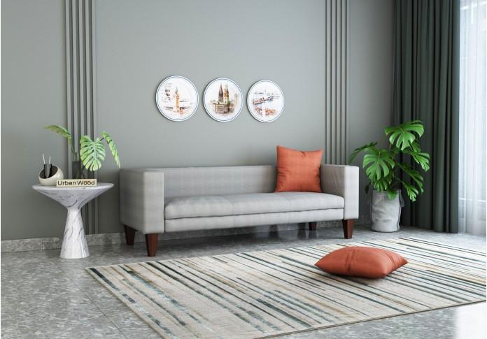 Roy 3 Seater Sofa ( Cotton, Steel Grey )