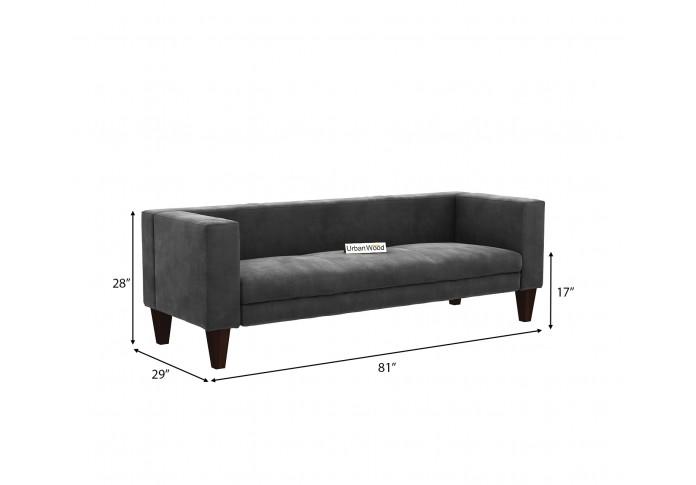 Roy 3 Seater Sofa <small>(Velvet, Stone Grey)</small>