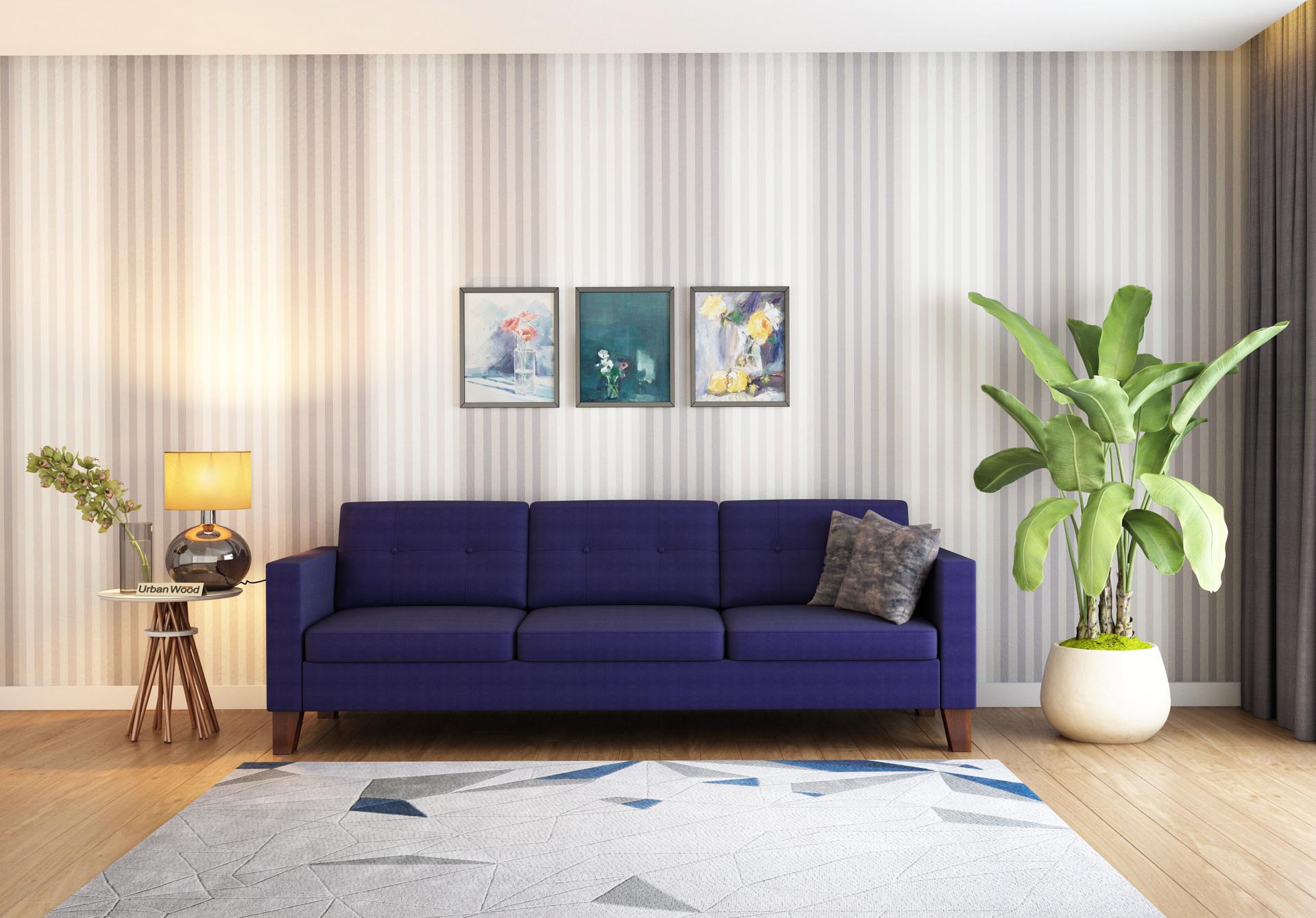 Shack 3 Seater Sofa  <small>( Cotton, Navy Blue )</small>