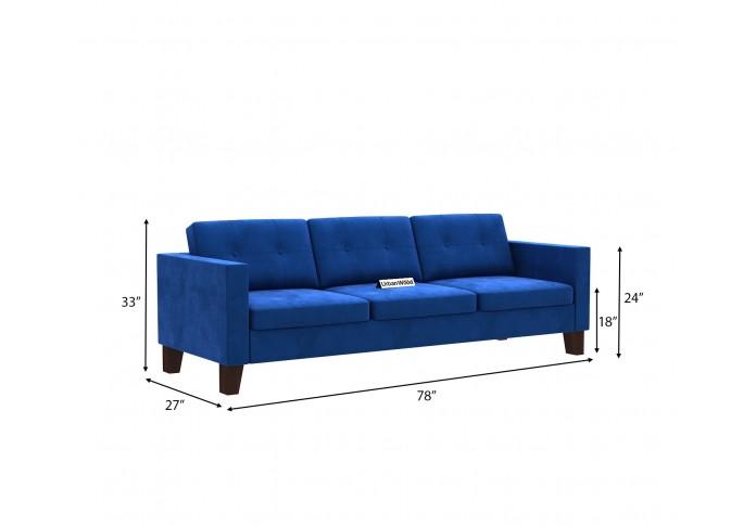 Shack 3 Seater Sofa  ( Velvet, Sapphire Blue )