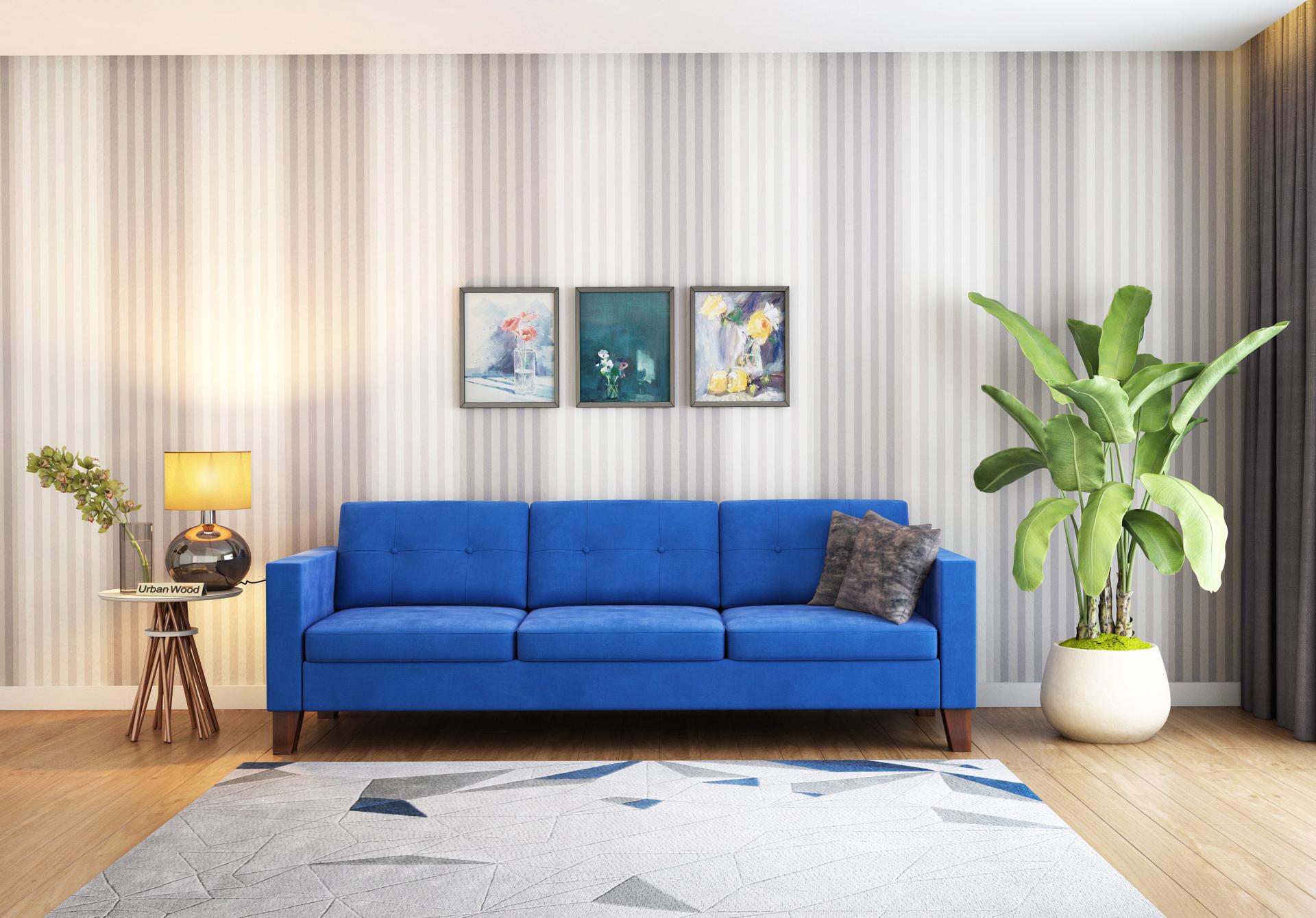 Shack 3 Seater Sofa  <small>( Velvet, Sapphire Blue )</small>